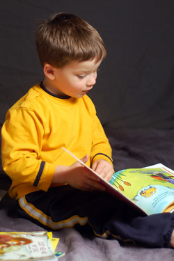 A young boy reading books
