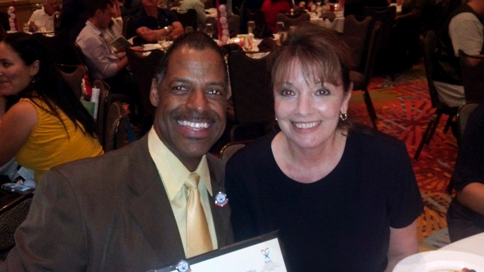 Starbucks Regional Manager Omega Wynn and Circuit Director Deborah Moore at a Florida Department of Children and Families summit on Wednesday, August 28, 2013
