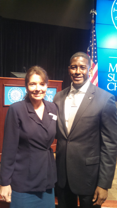 Second Judicial Circuit Guardian ad Litem Program Circuit Director Deborah Moore with Tallahassee Mayor Andrew Gillum at the Mayor's Summit on Children 2015 event on March 27, 2015