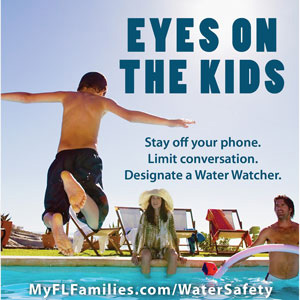 Adults watching a child swimming with text 'Eyes on the Kids'