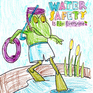 Froggy coloring page with text 'Water Safety Is For Everyone'