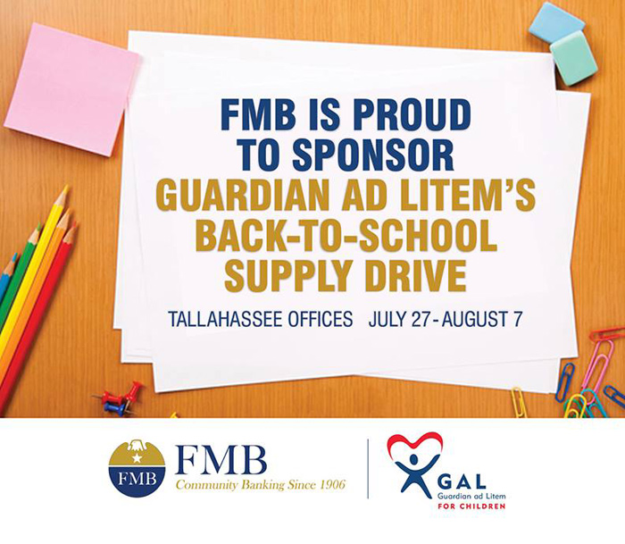 FMB Is Proud To Sponsor Guardian Ad Litem's Back To School Supply Drive flyer with logos