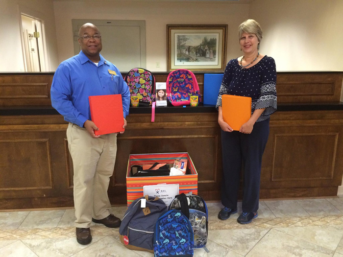 Donations collected during the 2015 Guardian ad Litem School Supply Drive hosted by Farmers and Merchants Bank in Tallahassee, Florida