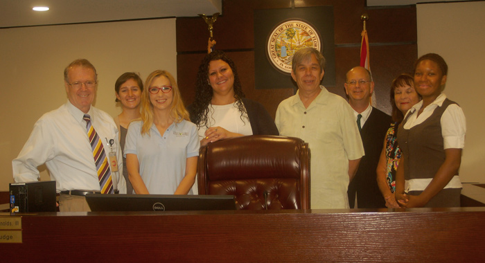 Six new volunteers sworn in as guardians ad litem at the Leon County Courthouse in Tallahassee, Florida on August 19, 2015