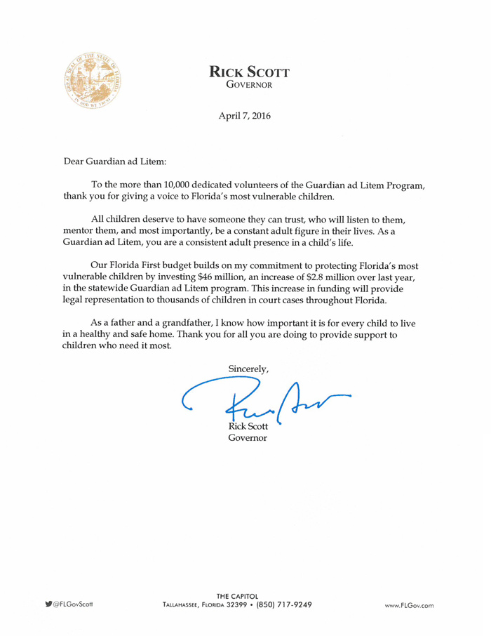 Governor Rick Scott's Letter to Guardian ad Litem Volunteers