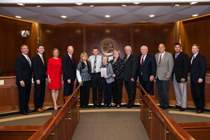 "Second Judicial Circuit Guardian ad Litem Program Volunteer Dorothy ""Dot"" Binger with Governor Rick Scott, the Florida Cabinet, Alan Abramowitz and others after she was presented the Volunteer Florida Champion of Service Award on Tuesday, December 6, 2016 in Tallahassee, Florida"