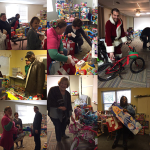 Collage of photographs from the 2016 Guardian ad Litem Holiday Gift Drive volunteer shopping event on December 10, 2016 in Tallahassee, Florida