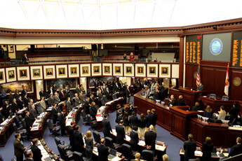 Original Photo Credit: David July/gal2.org --- Legislators prepare to recite the Pledge of Allegiance of the United States in the chamber of the House of Representatives on the fourth floor of the Capitol during Guardian ad Litem Day on February 9, 2012 in Tallahassee, Florida.