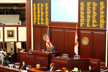 Original Photo Credit: David July/gal2.org --- Speaker Dean Cannon during the third reading of HB 5401 (Juvenile Detention) in the chamber of the House of Representatives on the fourth floor of the Capitol during Guardian ad Litem Day on February 9, 2012 in Tallahassee, Florida.