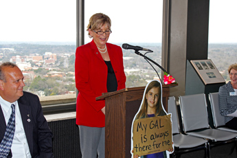 Original Photo Credit: David July/gal2.org --- Jane Munroe speaking during the keynote event in the west wing of the twenty-second floor of the Capitol during Guardian ad Litem Day on February 9, 2012 in Tallahassee, Florida.