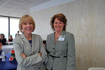 Original Photo Credit: David July/gal2.org --- Marcia Hilty and Leigh Merritt before the keynote speakers in the west wing of the twenty-second floor of the Capitol during Guardian ad Litem Day on February 9, 2012 in Tallahassee, Florida.