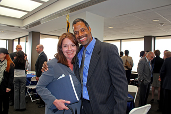 Original Photo Credit: David July/gal2.org --- Deborah Moore and Omega Wynn after the keynote event in the west wing of the twenty-second floor of the Capitol during Guardian ad Litem Day on February 9, 2012 in Tallahassee, Florida.
