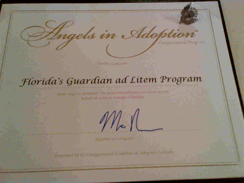 Photograph of Angels in Adoption award presented to the Florida Guardian ad Litem Program in Washington, D.C. at the September 12, 2012 awards gala