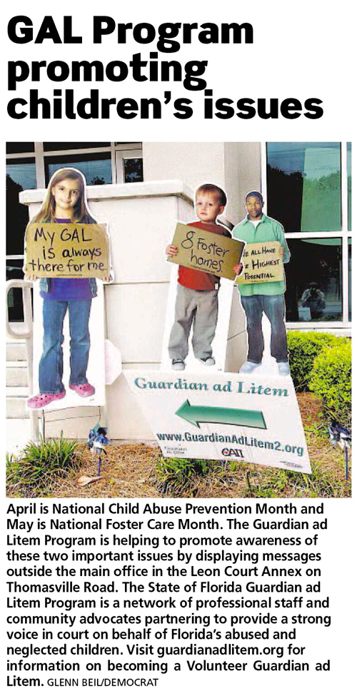 Original Photo Credit: Tallahassee Democrat/Glenn Beil --- Cardboard cuts outs of children with messages displayed in front of the Leon County Court Annex in Tallahassee, Florida