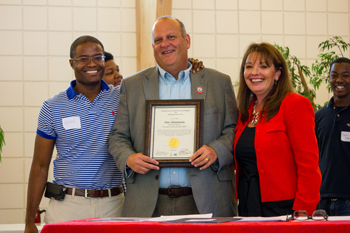Original Photo Credit: David July/gal2.org --- CAII Board President Brian Sealey, Executive Director Alan Abramowitz and Circuit Director Deborah Moore during the awards ceremony at Guardian ad Litem Appreciation Day on June 15, 2013 in Tallahassee, Florida.