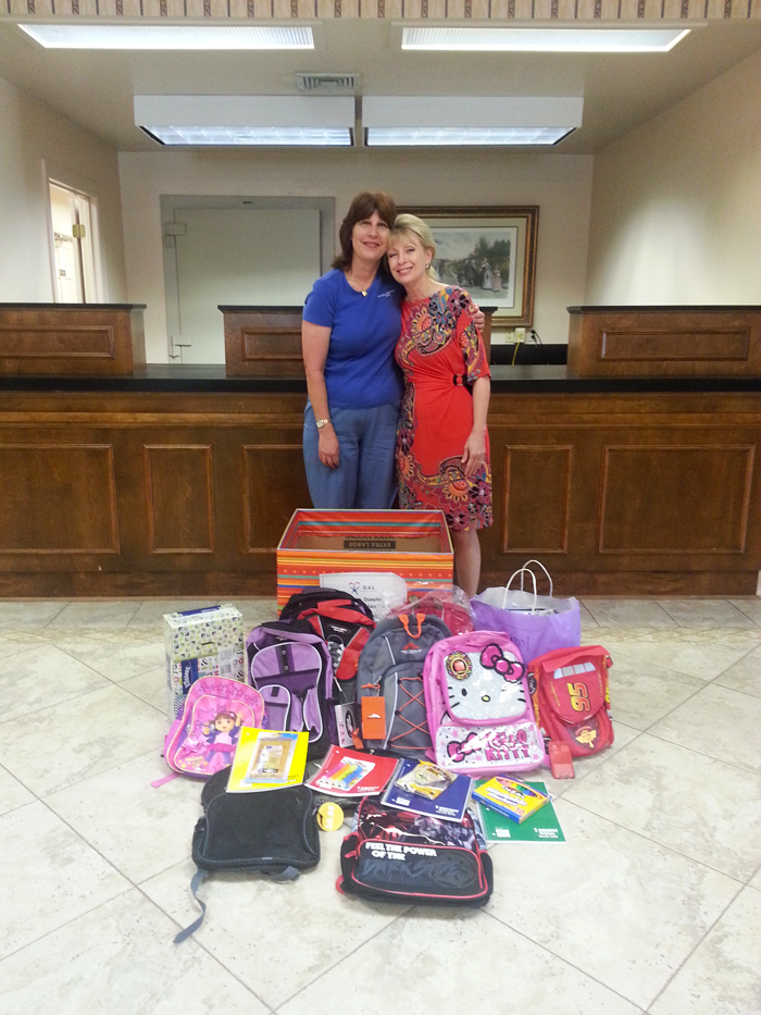 Original Photo Credit: gal2.org/Farmers and Merchants Bank --- Results of our 2013 School Supply Drive at a Farmers and Merchants Bank drop off location on Mahan Drive in Tallahassee, Florida.