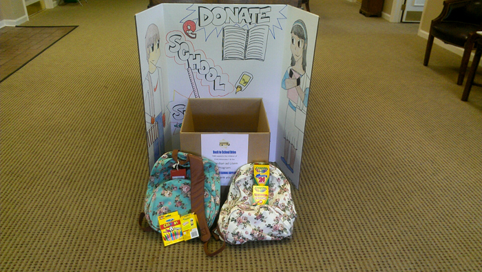 Original Photo Credit: gal2.org/Farmers and Merchants Bank --- Results of our 2013 School Supply Drive at a Farmers and Merchants Bank drop off location on Monroe Street in Tallahassee, Florida.
