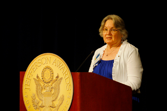Original Photo Credit: Jefferson Awards for Public Service --- Volunteer guardian ad litem Janet 'Jan' Watford speaking at the Jefferson Awards for Public Service gala in Washington, D.C.
