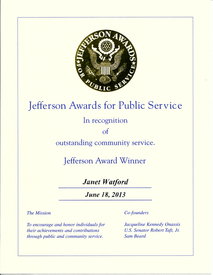Original Photo Credit: Jefferson Awards for Public Service --- Volunteer guardian ad litem Janet 'Jan' Watford's certificate from the Jefferson Awards for Public Service gala in Washington, D.C.