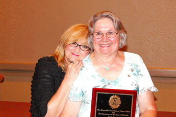 Original Photo Credit: Jan Watford --- Volunteer guardian ad litem Janet 'Jan' Watford (right) with her sister Cookie at the Statewide Guardian ad Litem Program awards reception on August 28, 2013 in Orlando, Florida.