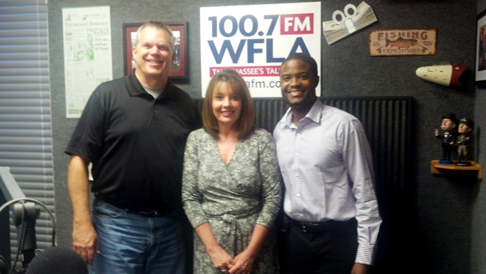 Original Photo Credit: WFLA-FM --- Preston Scott, Deborah Moore and Brian Sealey in the WFLA-FM studios on September 13, 2013 in Tallahassee, Florida.