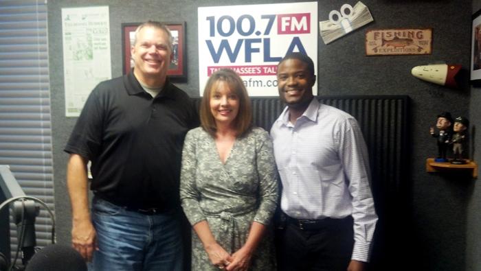 Original Photo Credit: WFLA-FM --- Preston Scott, Deborah Moore and Brian Sealey in the WFLA-FM studios on September 13, 2013 in Tallahassee, Florida.