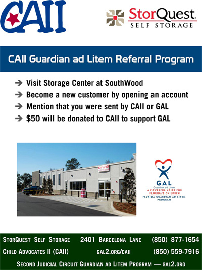 Storage Center at SouthWood CAII GAL Referral Program Flyer