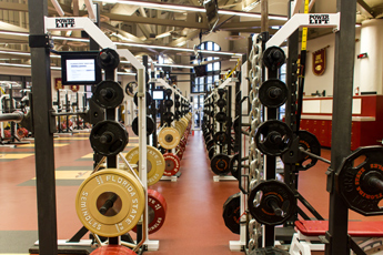 Original Photo Credit: David July/gal2.org --- Florida State Seminoles customized Power-Lift training equipment in the Roger Holler Champions Training Complex at the Coyle E. Moore Athletics Center at Doak S. Campbell Stadium in University Center Building D in Tallahassee, Florida on October 8, 2013.