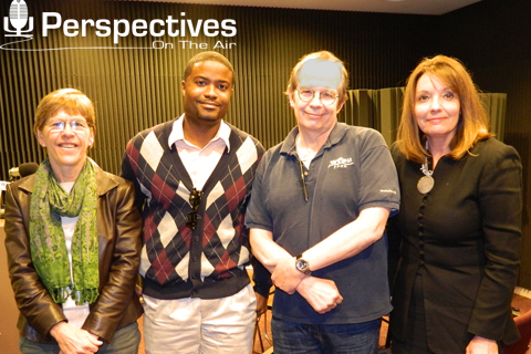Original Photo Credit: WFSU --- CAII Board Member Kristine Lamont, CAII Board President Brian Sealey, 'Perspectives' Host Tom Flanigan and Circuit Director Deborah Moore