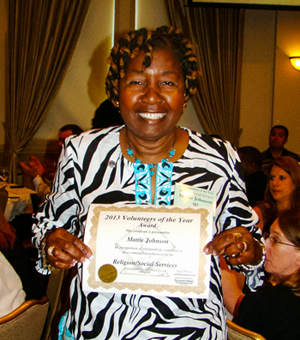 Original Photo Credit: gal2.org/Tallahassee Democrat --- Second Judicial Circuit Guardian ad Litem Program volunteer guardian ad litem Mattie Johnson with her Tallahassee Democrat Volunteer of the Year (social services category) certificate at the awards luncheon on April 25, 2013 in Tallahassee, Florida
