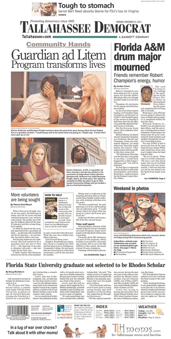 Original Photo Credit: Tallahassee Democrat --- newspaper front page 2011-11-21 courtesy of newseum.org