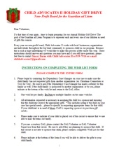2011 Holiday Wish List Project - Instructions for Volunteers