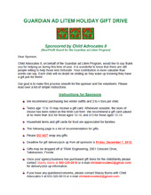 2012 Holiday Wish List Project - Instructions for Sponsors