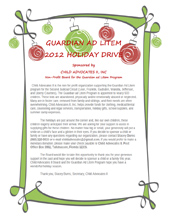 2012 Holiday Wish List Project - Letter for Sponsors