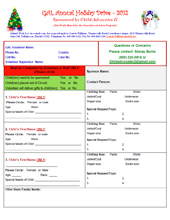 2012 Holiday Wish List Project - Wish List Form for Volunteers