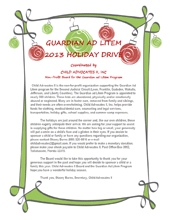 2013 Holiday Wish List Project - Letter to Potential Sponsors