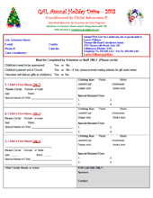 2013 Holiday Wish List Project - Wish List Form for Volunteers