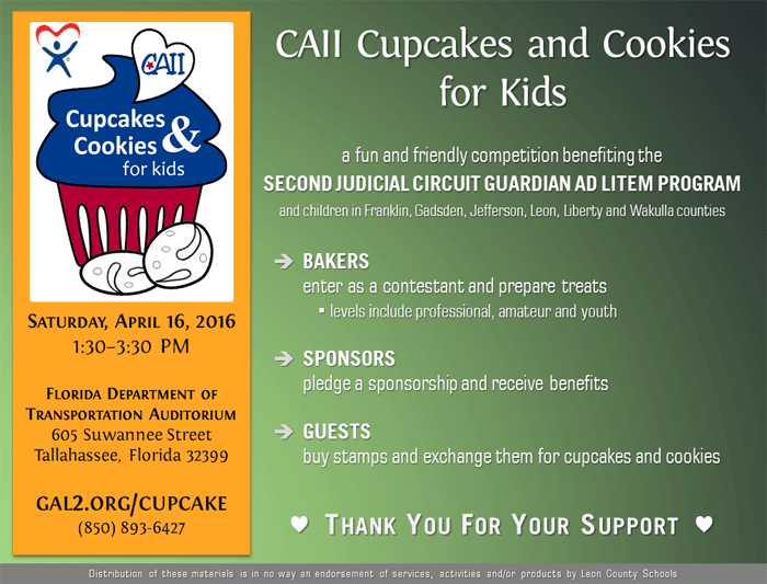 CAII Cupcakes and Cookies for Kids print flyer