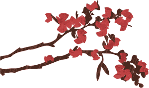 Graphic of two flowering tree branches