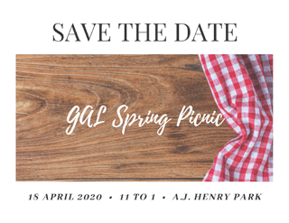 Save The Date: GAL Spring Picnic, 18 April 2020, 11 To 1, A.J. Henry Park