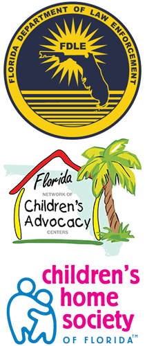 Logos of the Florida Department of Law Enforcement, the Florida Network of Children's Advocacy Centers and the Children's Home Society of Florida