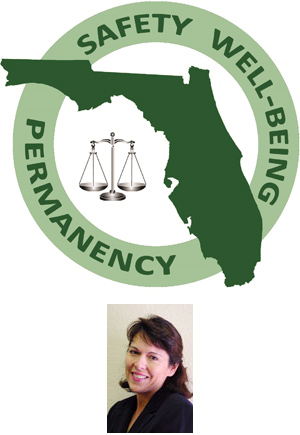 Florida logo for child welfare measures (safety, well-being and permanency) and photograph of Kelly Lynn Beck, J.D.