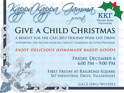 Kappa Kappa Gamma Give a Child Christmas Event Flyer