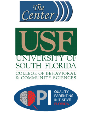 Logos for Florida's Center for Child Welfare; the University of South Florida College of Behavioral and Community Sciences; and Quality Parenting Initiative Florida