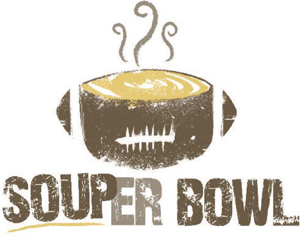 Graphic of an American football serving as a soup bowl plus Souper Bowl in text