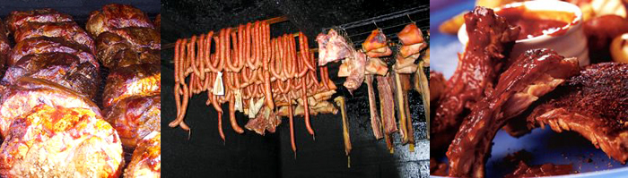 Photographs of Boston butts, hanging meat and ribs