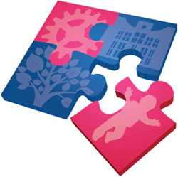 Two blue and two pink puzzle pieces with images of a gear, tree, Tallahassee city hall and a baby