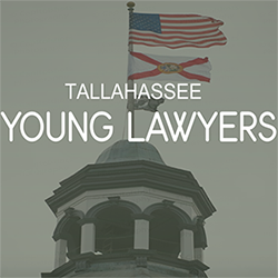 Tallahassee Young Lawyers written over a picture the flags atop the Old Capitol Building