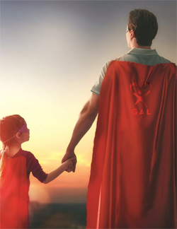 A young child with a superhero cape holds hands with an adult wearing a superhero cape featuring the Guardian ad Litem Program logo